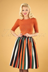 Collectif 29814 Jasmine Pumpkin Stripe Swing Skirt in Multi 20190715 040MW