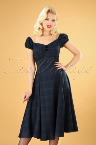 Dolores Blackwatch Doll Dress Années 50 en Bleu Marine et Vert