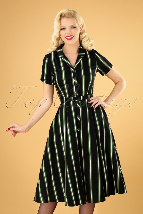 Collectif 29857 Caterina Witch Stripes Swing Dress in Black 20190715 040MW