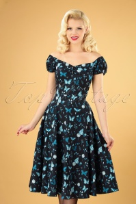 50s Dolores Midnight Butterfly Doll Dress in Black
