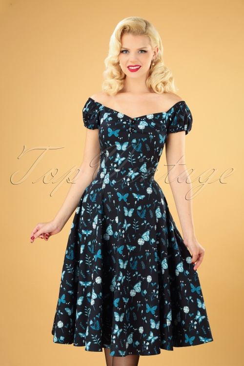 Collectif 29910 Dolores Midnight Butterfly Doll Dress in Black 20190730 040MW