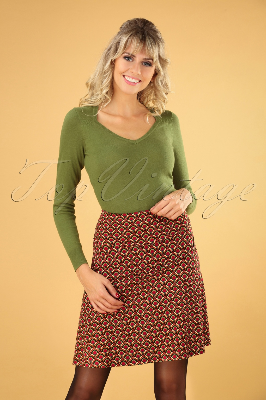 60s Skirts | 70s Hippie Skirts, Jumper Dresses 60s Calypso Borderskirt in Cherry Red £51.82 AT vintagedancer.com