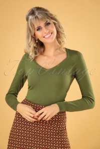 Diamond Cotton Club Top Années 50 en Vert Olive