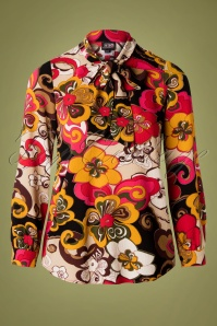 60s Mod Floral Bow Blouse in Multi
