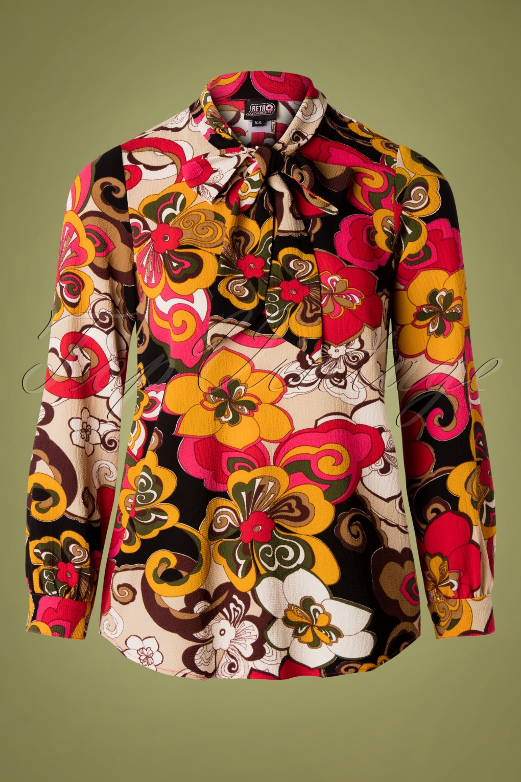 1960s Style Dresses, Clothing, Shoes UK 60s Mod Floral Bow Blouse in Multi £43.72 AT vintagedancer.com