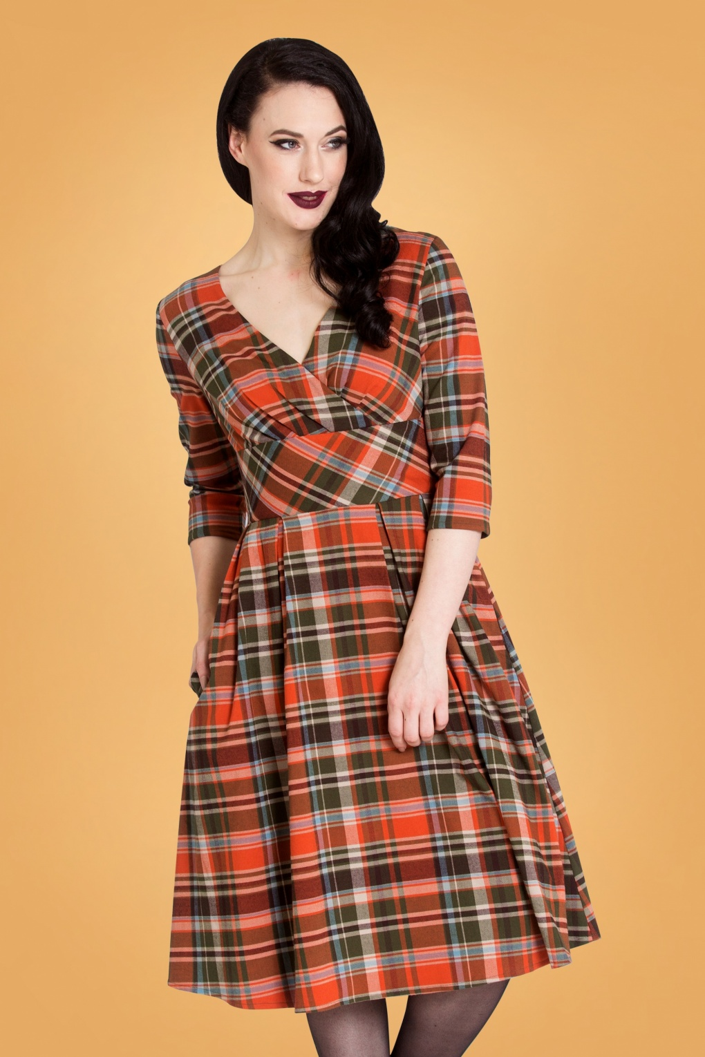 Vintage Christmas Gift Ideas for Women 50s Oktober Tartan Swing Dress in Orange £67.67 AT vintagedancer.com
