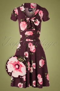 TopVintage exclusive ~ Debra Pin Dot Floral Swing Dress Années 50 en Bordeaux