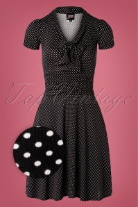 Debra Pin Dot Swing Dress Années 50 en Noir