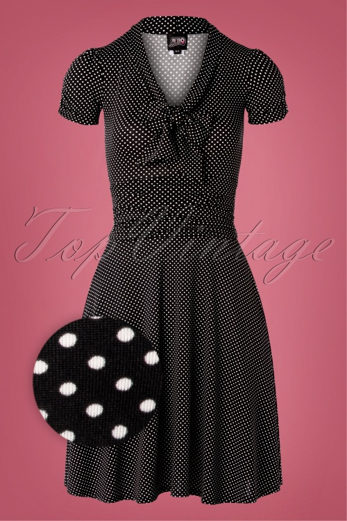 Retrolicious 31292 Polkadot Swing Dress in Black and white 20190830 003Z