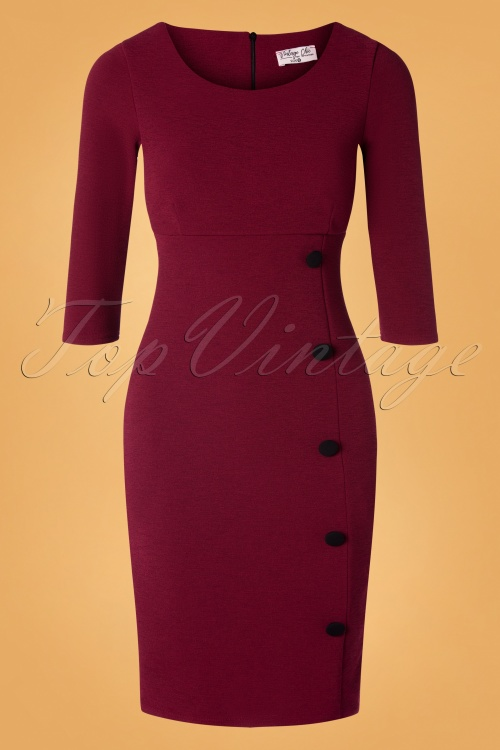 Vintage Chic 31186 Whine red Pencil Dress 20190830 002W