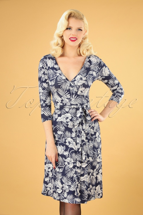 TOPVBC 31172 Swingdress Navy White Floral 07222019 040MW