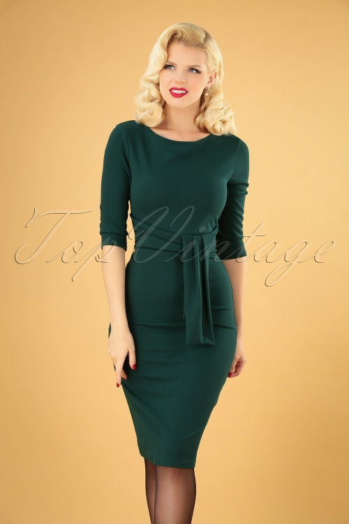 Vintage Chic 31165 Pencil Dress in Forest Green 20190725 040MW