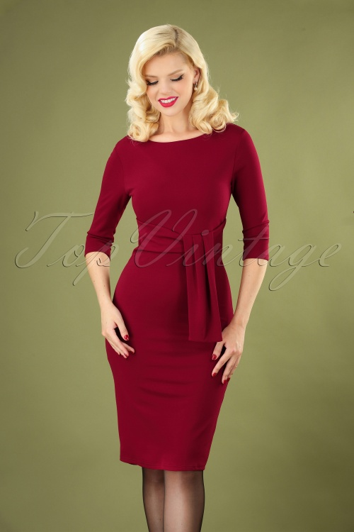 Vintage Chic 31166 Pencil Dress in Wine Red 20190725 040MW