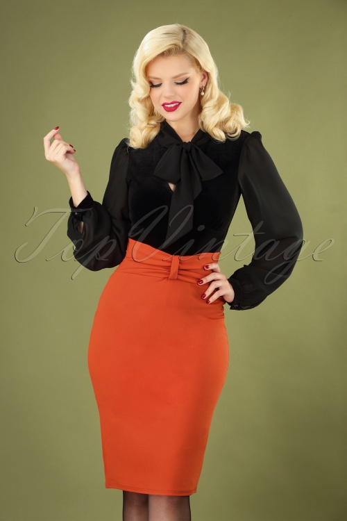 Vintage Chic 31168 Pencil Skirt in Orange 20190726 040MW