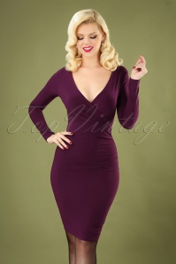 Vintage Chic 31181 Long Sleeve Slinky Dress in Purple  20190717 040MW
