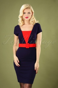 Fiesta Pencil Dress Années 50 en Bleu Marine
