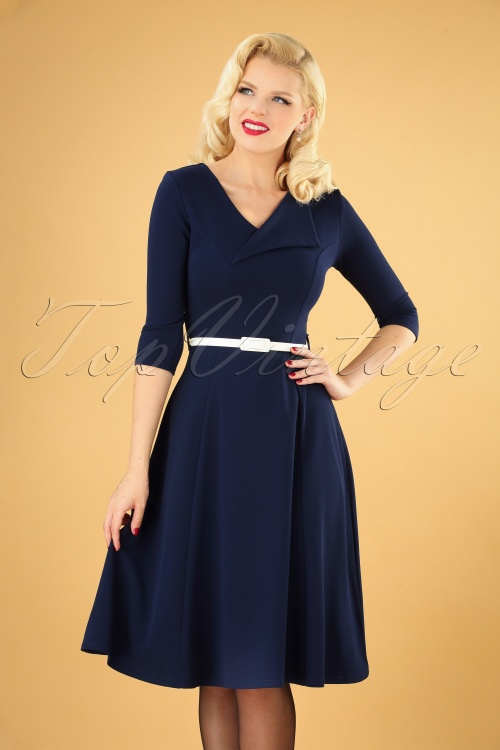 vintage Chic 31155 Swing dress Navy20190709 040MW