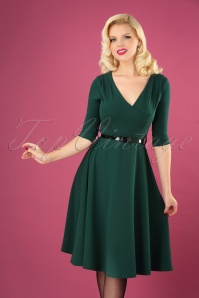50s Leilani Swing Dress in Dark Green