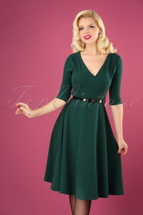 Vintage Chic 31170 Swingdress Green Forest Scuba Crepe 08 040MW