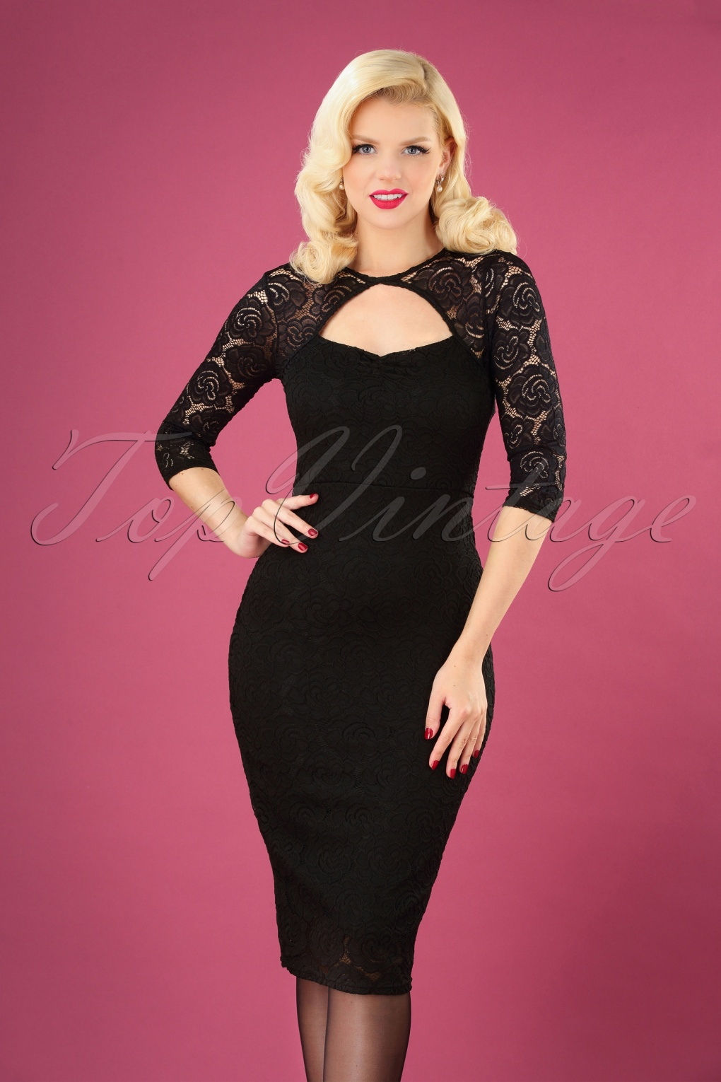 1960s Style Dresses, Clothing, Shoes UK 50s Georgia Lace Dress in Black £53.38 AT vintagedancer.com