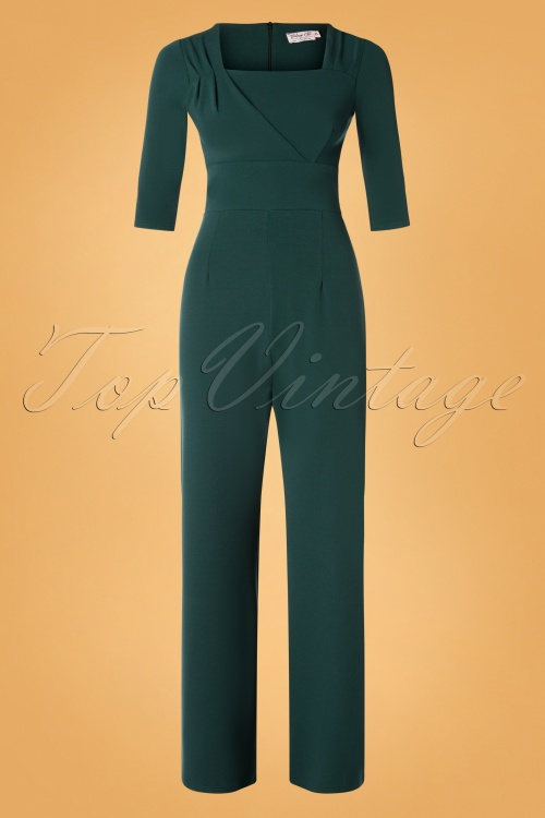Vintage Chic 31245 Forest Green Jumpsuit 20190830 002W