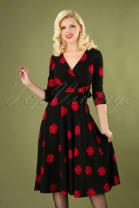Janice Flower Swing Dress Années 50 en Noir