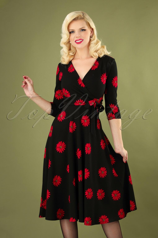 1950s Swing Dresses | 50s Swing Dress 50s Janice Flower Swing Dress in Black £58.62 AT vintagedancer.com