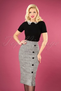 50s Carol Tweed Pencil Skirt in Grey Melange