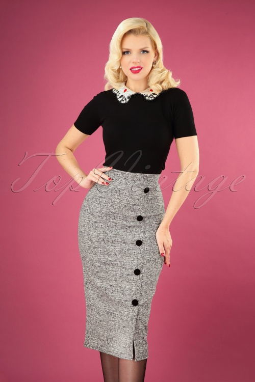 vintage Chic 31191 Pencilskirt Grey Buttons 20190716 040MW