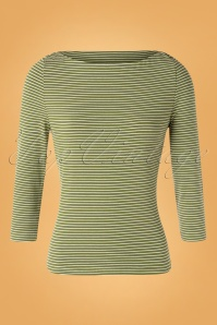 60s Jersey Stripes Top in Olive Green