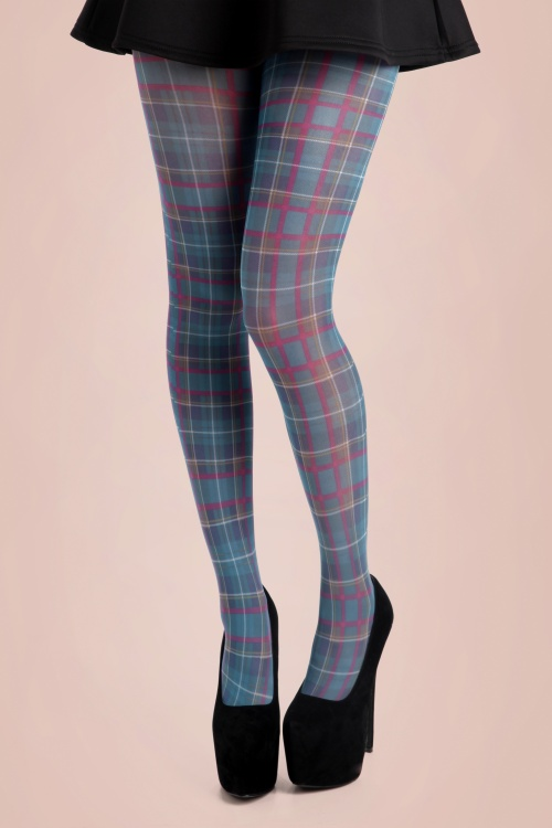 Pamela Mann 31809 Jackson Plaid Printed Tights Blue 20190819 020LW