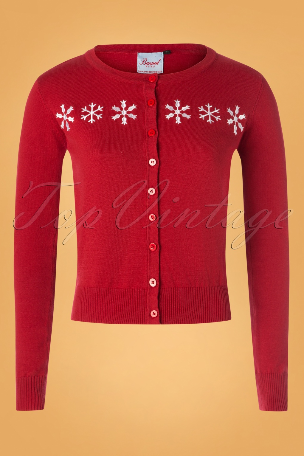 Vintage Christmas Gift Ideas for Women 50s Snow Flake Cardigan in Dark Red £37.37 AT vintagedancer.com