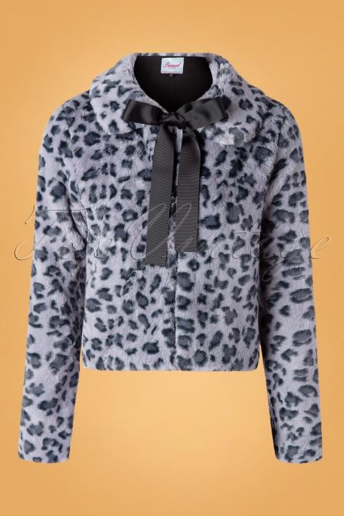 Banned Retro 30626 Coat Fabulous Leopard Print Blue 09022019 0002W