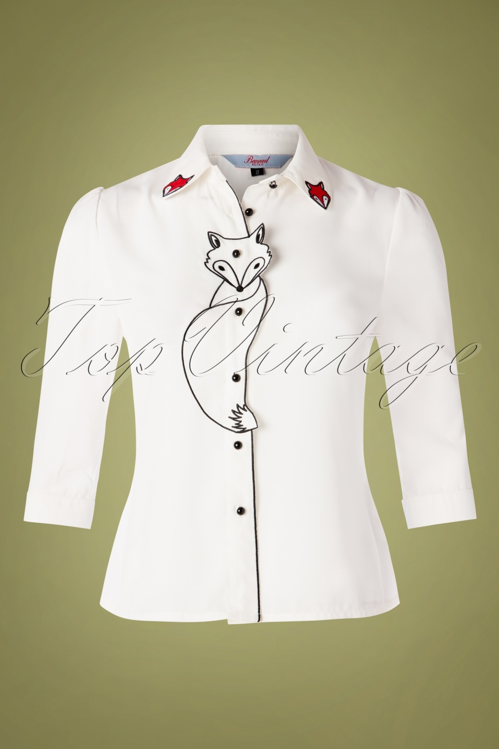 60s Shirts, T-shirt, Blouses, Hippie Shirts 60s Foxy Fox Blouse in Ivory White £34.09 AT vintagedancer.com