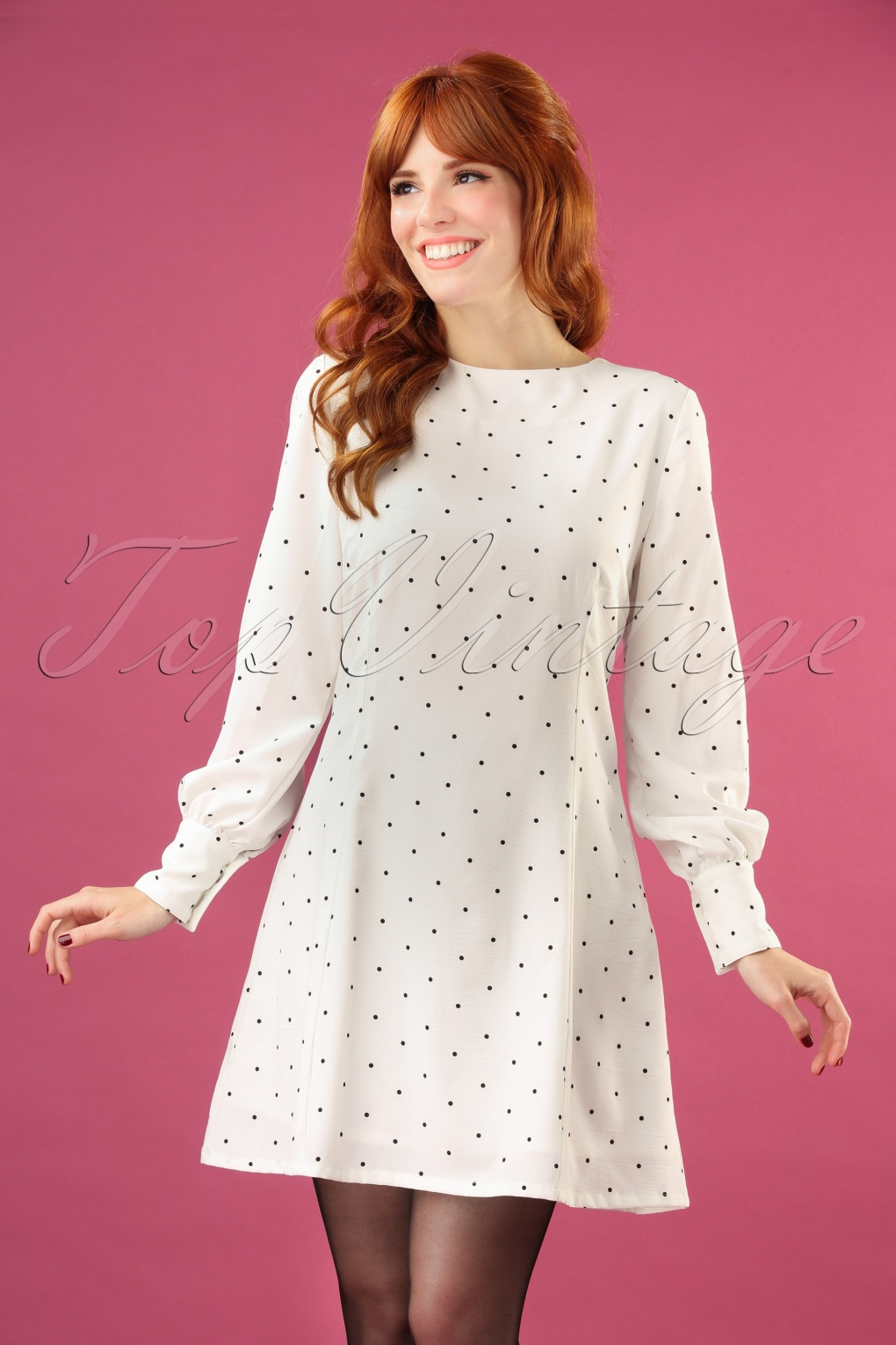 1960s Style Dresses, Clothing, Shoes UK 60s Dolly Dot Dress in White £41.96 AT vintagedancer.com