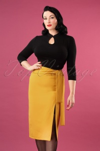 Banned Retro 30636Bow Skirt Mustard 20190603 040MW