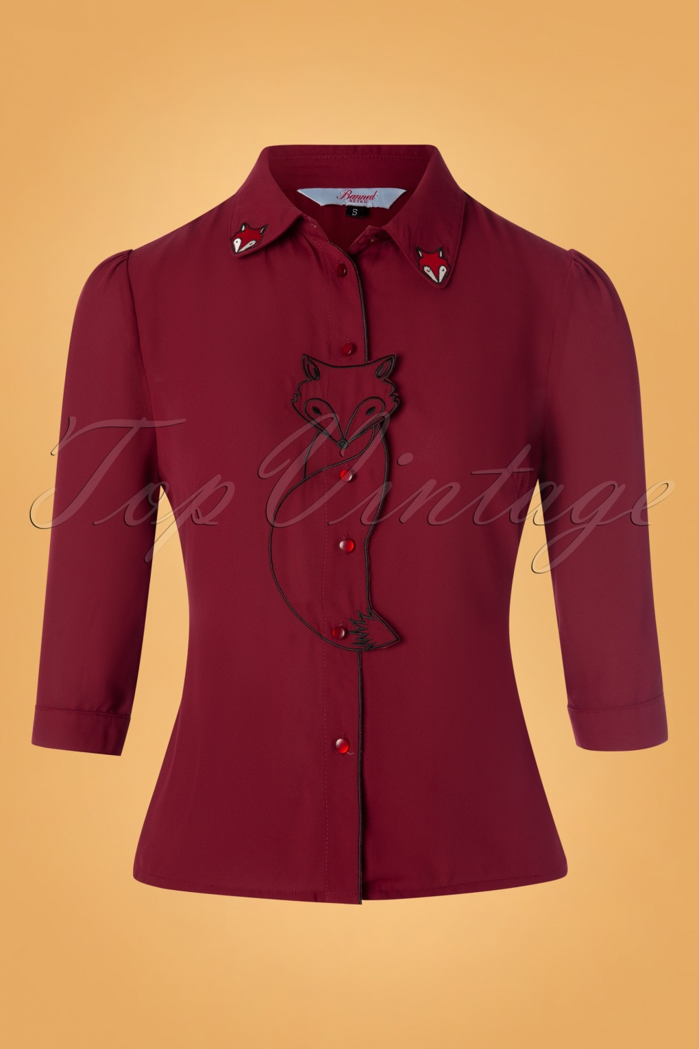 60s Shirts, T-shirt, Blouses, Hippie Shirts 60s Foxy Fox Blouse in Burgundy £34.09 AT vintagedancer.com