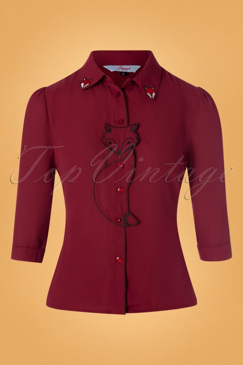 Banned 30559 Foxy Blouse in Burgundy 20190626 004W
