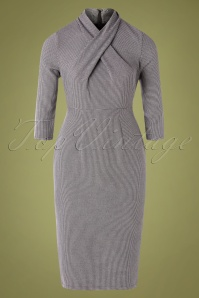 Banned 30566 Drape Neck Grey Pencil Dress 20190903 005W