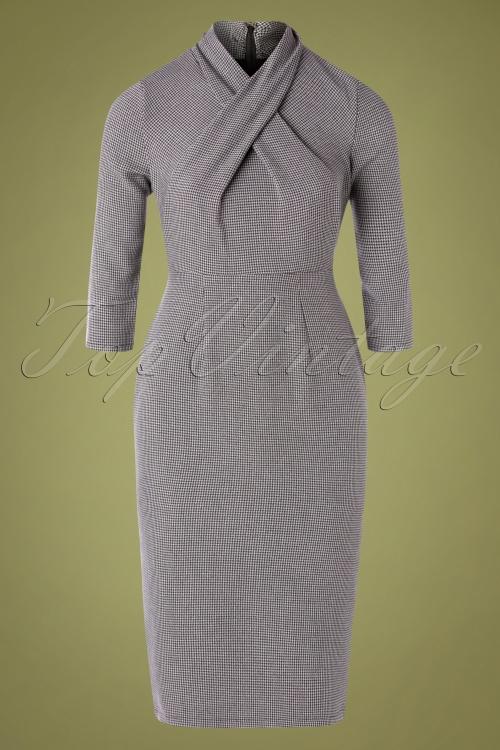 Banned 30566 Drape Neck Grey Pencil Dress 20190903 005W