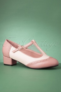 60s Georgia T-Strap Pumps in Pink and White