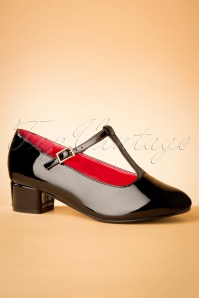60s Chrissie Patent T-Strap Pumps in Black
