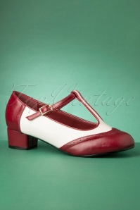 60s Georgia T-Strap Pumps in Burgundy and White