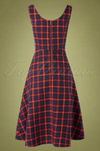 Banned Retro 30623 Swingdress Check Red Blue Christmas 09022019 0007W