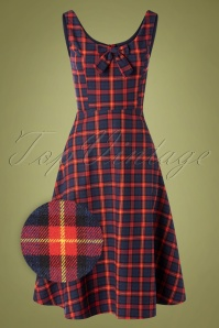 Banned Retro 30623 Swingdress Check Red Blue Christmas 09022019 0002Z