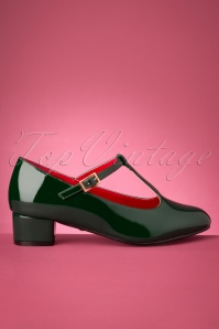 60s Chrissie Patent T-Strap Pumps in Forest Green