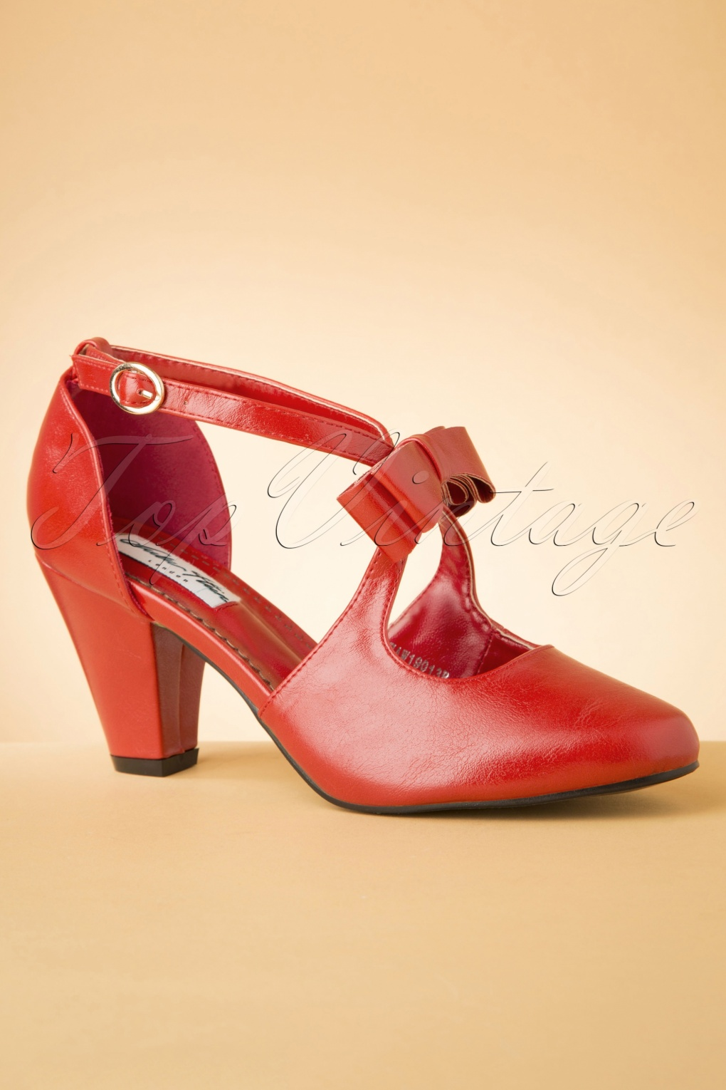 1950s Style Shoes | Heels, Flats, Saddle Shoes 50s Mona High Heels in Lipstick Red £47.34 AT vintagedancer.com