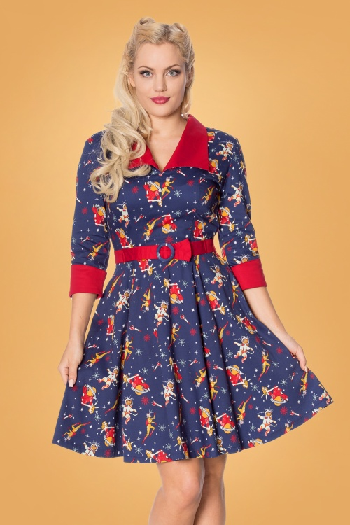 Banned 30549 Spaced Collar Dress in Navy 20190529 020LW