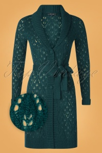 50s Rapallo Long Wool Cardigan in Pine Green