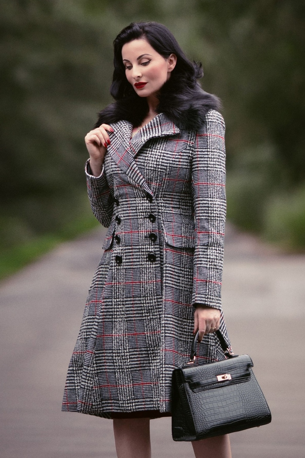 Vintage Coats & Jackets | Retro Coats and Jackets 50s Pascale Check Coat in Black and White £119.95 AT vintagedancer.com